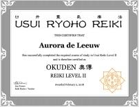 Certificate Reiki level II
