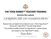 certificate Yoga Shred TT